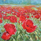 """Картины и панно ручной работы. Ярмарка Мастеров - ручная работа Картина маслом цветы """"Красные маки"""". Handmade."""