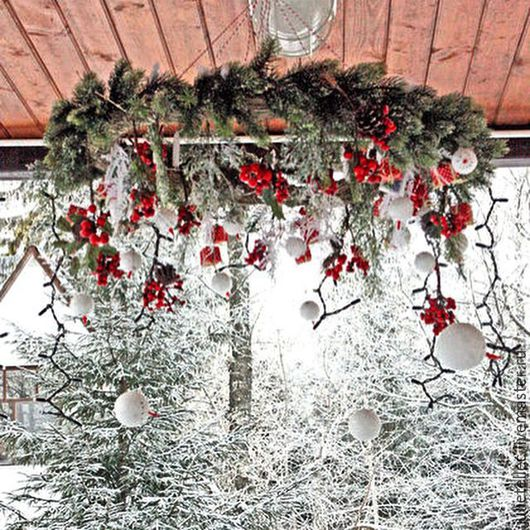 Новый год 2017 ручной работы. Ярмарка Мастеров - ручная работа. Купить Подвесной рождественский венок Були-Були. Handmade.