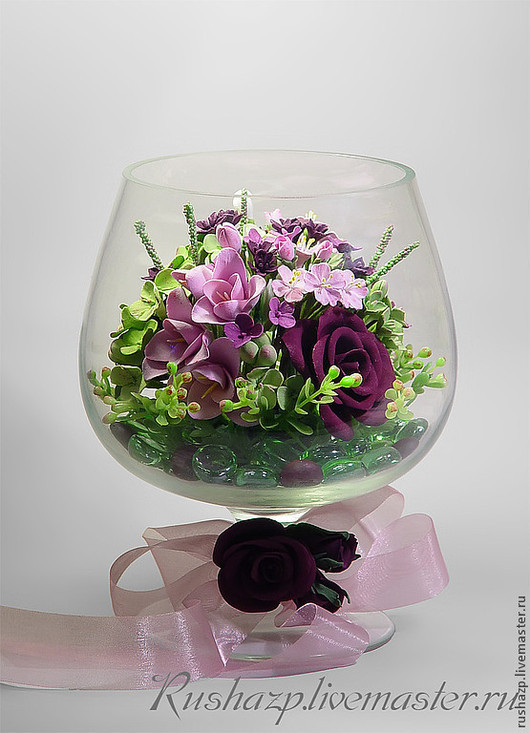 """Интерьерные композиции ручной работы. Ярмарка Мастеров - ручная работа. Купить Композиция """"Цветы за стеклом -2 """" - букет из полимерной глины. Handmade."""