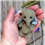Куклы и игрушки ручной работы. Ярмарка Мастеров - ручная работа Карманный слоник тедди,7,5см.. Handmade.