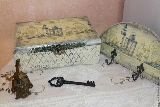 """Кухня ручной работы. Ярмарка Мастеров - ручная работа. Купить Чайная коробка """"Старый маяк"""". Handmade. Синий, воск"""