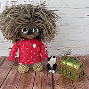 Куклы и игрушки handmade. Livemaster - original item Domovenok Kuzya with a cat. Handmade.