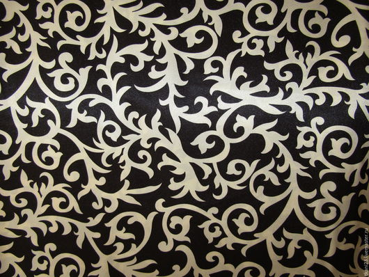Шитье ручной работы. Ярмарка Мастеров - ручная работа. Купить Атлас стрейч цветной арт.17 АТС-14 (Корея)молочный вензель на черном. Handmade.
