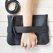 """handmade. Livemaster - original item Черный клатч """"CarryMe"""", черная сумочка через плечо. Эко кожа. Handmade."""