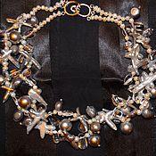 Украшения handmade. Livemaster - original item Necklace Pearl freshwater Baroque Biwa rhinestone. Handmade.