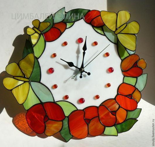 """Часы для дома ручной работы. Ярмарка Мастеров - ручная работа. Купить Витражные часы """"Лето"""". Handmade. Рыжий"""