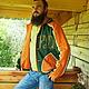 """Верхняя одежда ручной работы. Ярмарка Мастеров - ручная работа. Купить Куртка льняная мужская  """"Русь"""". Handmade. Болотный"""