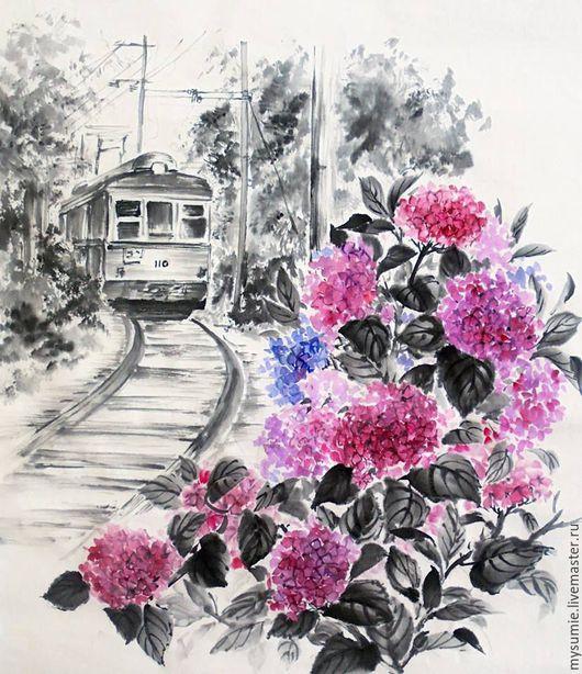 Картины цветов ручной работы. Ярмарка Мастеров - ручная работа. Купить Воспоминания о Камакуре. Handmade. Комбинированный, японская живопись, цветы