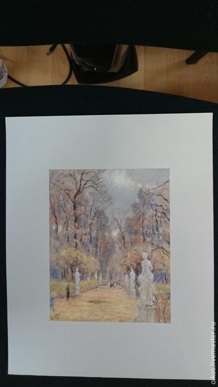 Картина пастелью - летний сад осенью, Винтажные предметы интерьера, Санкт-Петербург, Фото №1