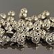 Бусины металлические литые биконической формы Юла в тибетском стиле с покрытием античное серебро для сборки украшений комплектами по 10 бусин
