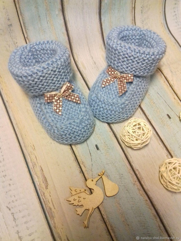 For Newborns handmade. Livemaster - handmade. Buy Blue booties with bow for baby.Handmade, heavenly, gift newborn