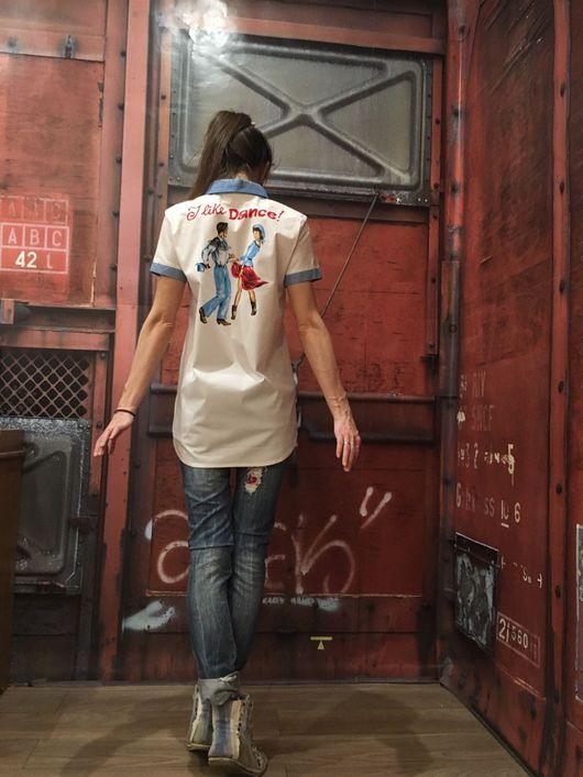"""Блузки ручной работы. Ярмарка Мастеров - ручная работа. Купить Рубашка """"l like dance"""". Handmade. Рубашка, дизайнерская работа"""