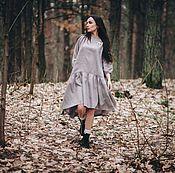 Платья ручной работы. Ярмарка Мастеров - ручная работа Льняное платье Туманное. Handmade.