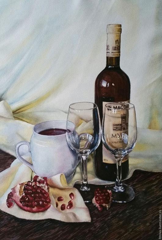 """Натюрморт ручной работы. Ярмарка Мастеров - ручная работа. Купить акварель """"Любимое вино""""/оформлена/. Handmade. Комбинированный, красный, картина в подарок"""