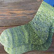 """Аксессуары ручной работы. Ярмарка Мастеров - ручная работа Женские вязаные носки зеленые """"Green"""". Handmade."""