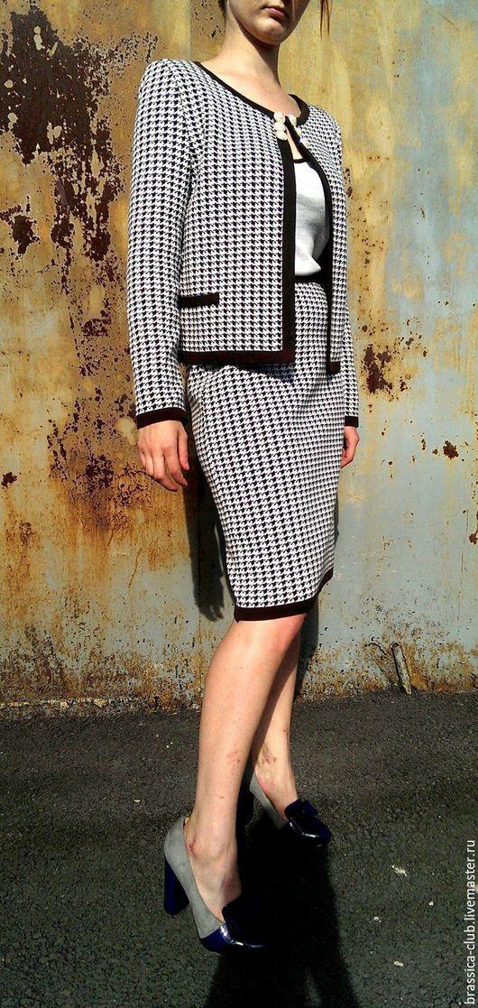Юбки ручной работы. Ярмарка Мастеров - ручная работа. Купить Классический юбка карандаш. Handmade. Чёрно-белый, юбка карандаш