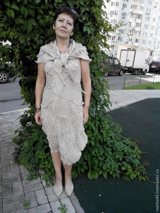 Платья ручной работы. Ярмарка Мастеров - ручная работа. Купить Платье безрукавное с шалью из вареного льна. Handmade. Белый