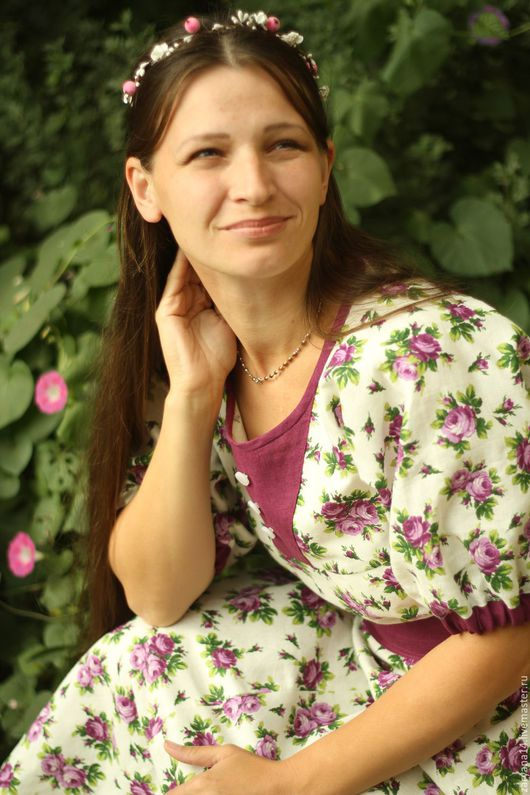"""Платья ручной работы. Ярмарка Мастеров - ручная работа. Купить Платье  """" Сиреневые  цветы"""". Handmade. Белый, одежда для беременных"""