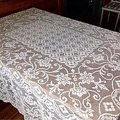 Прекраснейшая банкетная скатерть в технике филейной вышивки