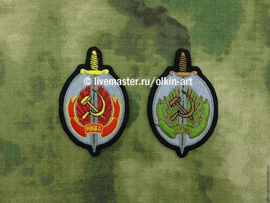 Нашивка `НКВД` (цветная/полевая) Машинная вышивка. Белорецкие нашивки. Нашивка. Шеврон. Патч. Вышивка. Шевроны.  Патчи. Нашивки. Купить нашивку.