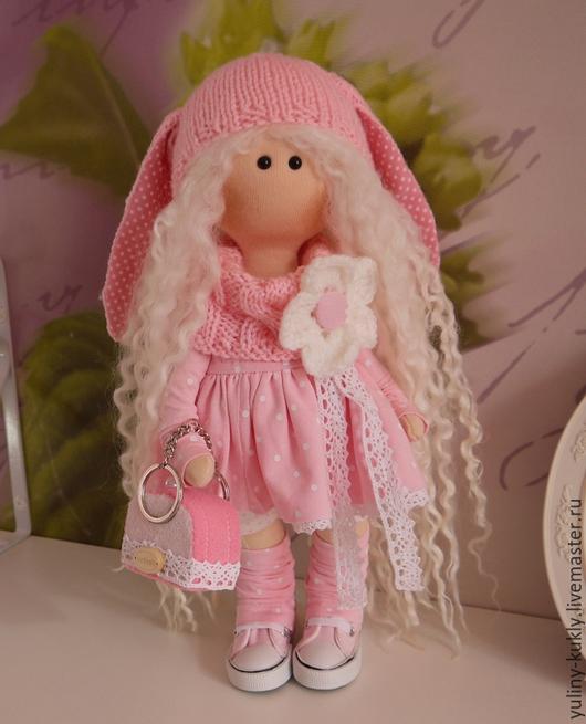 Коллекционные куклы ручной работы. Ярмарка Мастеров - ручная работа. Купить Текстильная куколка-малышка Зефирка. Handmade. Розовый