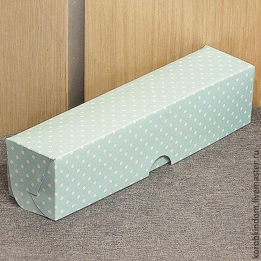 Упаковка ручной работы. Ярмарка Мастеров - ручная работа. Купить Коробка 22х5х5 голубая в горошек белый для макарун. Handmade. Коробочка