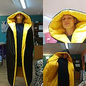 """Одежда handmade. Livemaster - original item Длинный пуховик-одеяло """"Смелый черно-желтый"""". Handmade."""