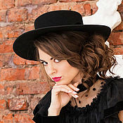 Аксессуары handmade. Livemaster - original item Wide-brimmed hat-boater. Handmade.