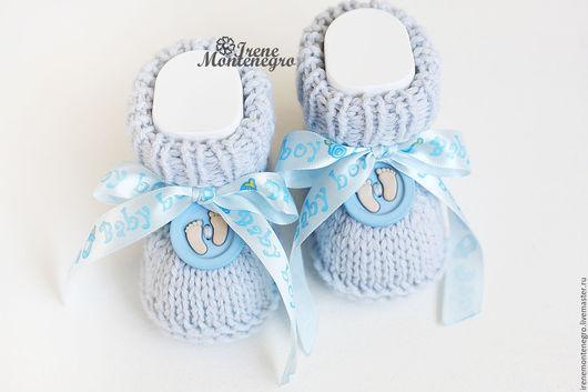 """Для новорожденных, ручной работы. Ярмарка Мастеров - ручная работа. Купить Пинетки """"Крохотные ножки"""". Handmade. Голубой, пинетки для мальчика"""