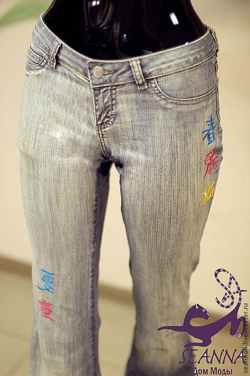 Брюки, шорты ручной работы. Ярмарка Мастеров - ручная работа. Купить Ремонт джинсов вышивкой в японском стиле - иероглифы. Handmade.