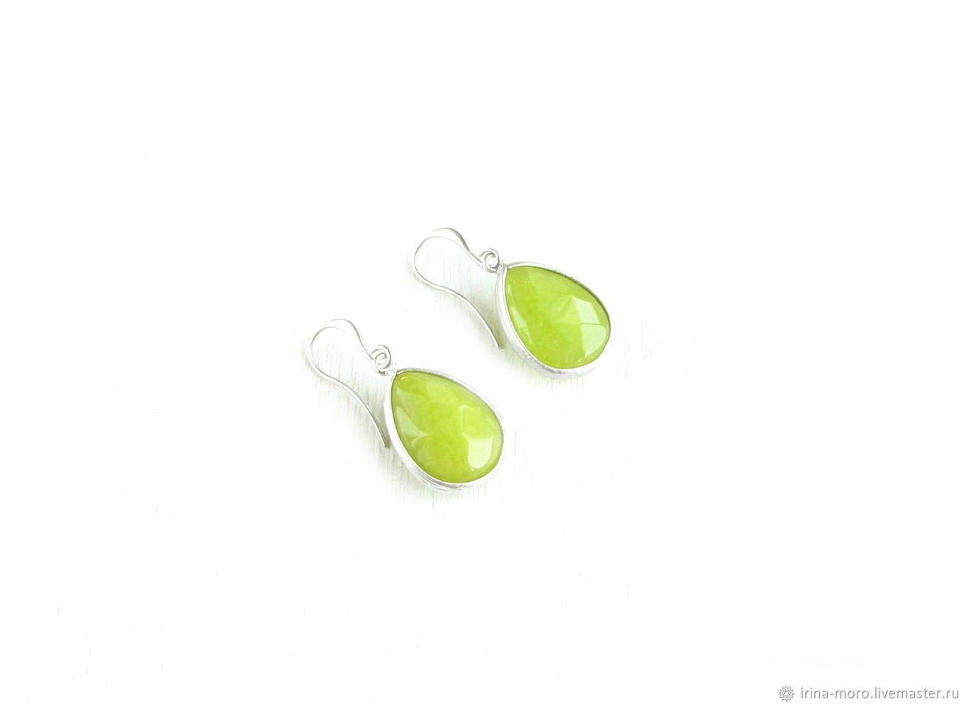 Earrings with jade 'Green' green earrings, light green earrings, Earrings, Moscow,  Фото №1