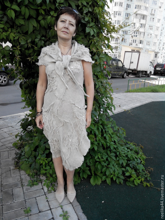 The dress is sleeveless with a shawl made of boiled flax, Sundresses, Stupino,  Фото №1