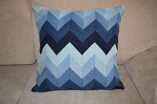 Текстиль, ковры ручной работы. Ярмарка Мастеров - ручная работа. Купить Подушка джинсовая. Handmade. Комбинированный, джинс, голубой цвет