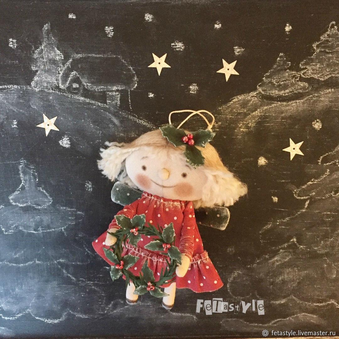 Ангел Рождественский Кукла текстильная Игрушка на Елку, Мягкие игрушки, Великий Новгород,  Фото №1