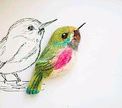 Украшения ручной работы. Ярмарка Мастеров - ручная работа Брошь птица из шерсти, валяние. Аксессуар, подарок для девушки. Handmade.