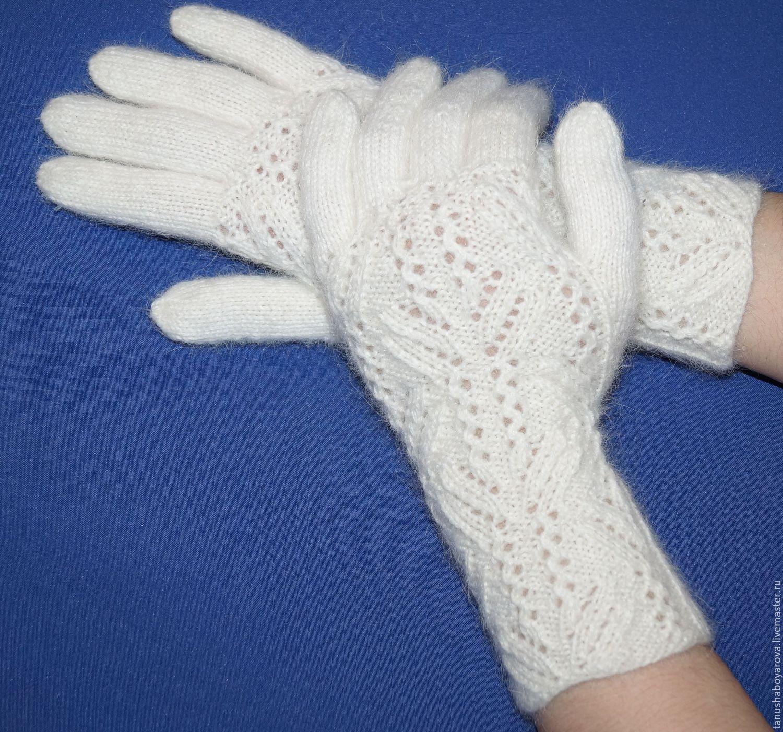 ажурные перчатки снежок белоснежные перчаткивязаные перчатки