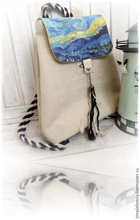 """Женские сумки ручной работы. Ярмарка Мастеров - ручная работа. Купить текстильный  рюкзак """"морской"""". Handmade. Эко сумка"""
