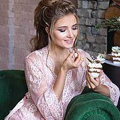 Одежда ручной работы. Ярмарка Мастеров - ручная работа Кружевной халат розовый персиковый. Handmade.