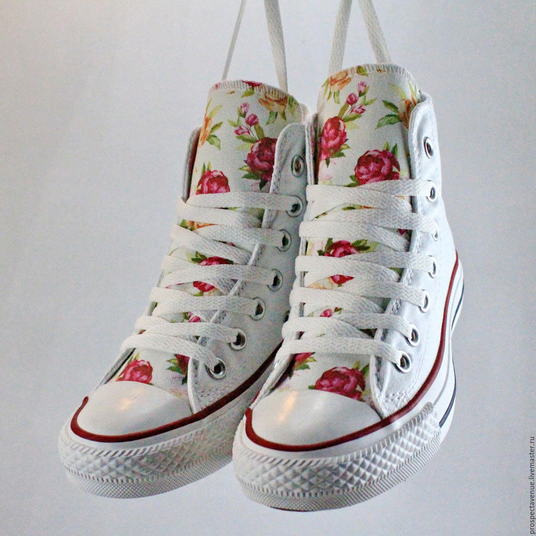 Обувь ручной работы. Ярмарка Мастеров - ручная работа. Купить Высокие  женские кеды Converse с ... d3760f497cc00