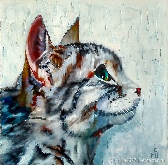 Oil painting Cat cat on textured background, Pictures, Ekaterinburg,  Фото №1