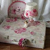 """Корзины ручной работы. Ярмарка Мастеров - ручная работа """"Розовое настроение"""", чемодан  винтажный, шебби-шик. Handmade."""