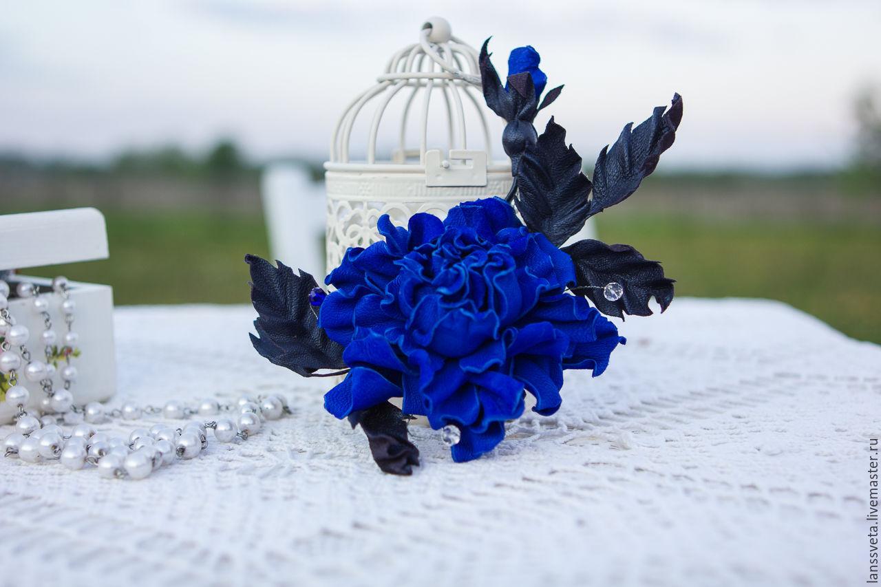 Заколка из кожи Синяя роза. Цветы из кожи. Украшение из кожи, Заколки, Бобруйск, Фото №1