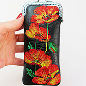 handmade. Livemaster - original item Eyeglass case Eyeglass Case with poppies clasp embroidery. Handmade.