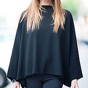 Одежда handmade. Livemaster - original item Black, loose blouse made of cotton - TP0482GE. Handmade.