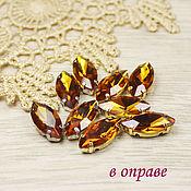 Материалы для творчества handmade. Livemaster - original item Glass rhinestone 15h7 mm Topaz in gold and silver rims. Handmade.