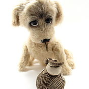 Куклы и игрушки handmade. Livemaster - original item Toy dog puppy knitted. Puppy. Beige. Handmade.