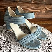Винтаж handmade. Livemaster - original item Vintage shoes TJ Collection suede 37.5 p blue sandals. Handmade.