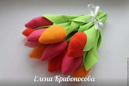 Цветы ручной работы. Ярмарка Мастеров - ручная работа. Купить Тюльпаны. Handmade. Комбинированный, цветы, фетр