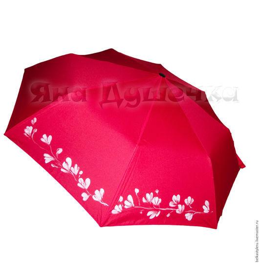 """Зонты ручной работы. Ярмарка Мастеров - ручная работа. Купить Зонт с ручной росписью """"Белые цветы"""". Handmade. Зонт"""