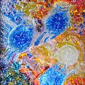 Витражный светильник Покорители космоса. Синие коты Рины Зенюк.